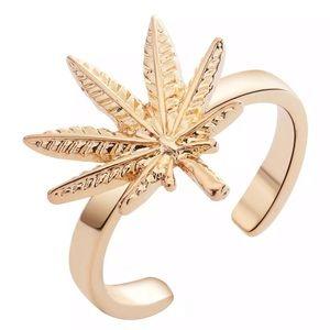 Delicate Maple Leaf Adjustable Ring